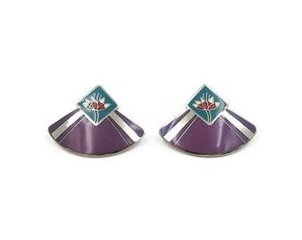 Laurel Burch Earrings - Water Lily, Silver Tone, Enamel, Fan Shape, Vintage Earrings, Vintage Jewelry