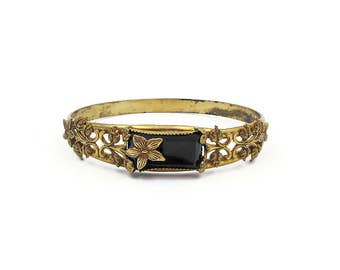 Art Deco Victorian Style Gold Bangle Bracelet with Onyx Glass and Floral Accents - Vintage Bracelet, Vintage Bangle, Art Deco Jewelry