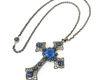 Art Deco Silver Filigree Cross Pendant Necklace with Blue Glass Stones - Art Deco Jewelry, Art Deco Necklace, Antique Jewelry