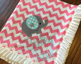 Personalized Baby Blanket- Elephant Baby Blanket- Chevron Blanket- Minky Baby Blanket-Nursery Blanket