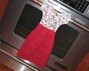 Dishtowel Dress. Reversible, Wine Hanging Dishtowel, Hangs on Stove. Teacher, Hostess Gift