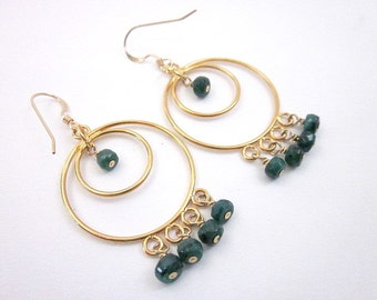Gold & Emerald Earrings -- Emerald Bead Earrings -- Green Gem Earrings -- Green Hoop Earrings -- Emerald Hoops -- Dark Green Earrings