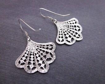 Silver Filigree Earrings -- Everyday Silver Dangle Earrings -- Pretty Silver Earrings -- Silver Fan Earrings -- Scallop Dangle Earrings