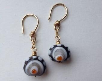 Lampworked Glass Bead Earrings + 18k Gold Vermeil
