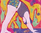 Poster yoga, Yoga Illustration, Yoga pose, Dog pose yoga, Poster Yoga, Yoga Print, Woman doing yoga, 8.5x11