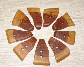 """9 Handmade  plum wood buttons, accessories ( 1,69"""" x 1,1"""")"""
