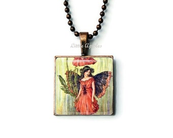 Poppy flower fairy pendant, glass tile jewelry, red flower, fairy art, copper necklace, summer gift