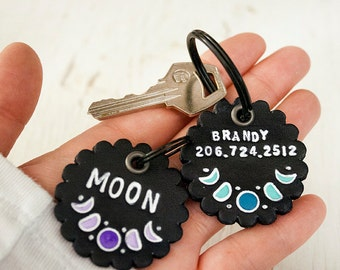 Custom ID Tag - Moon Phases - Personalized name and phone number key chain or dog tag- custom - keychain luggage tag cat dog pig ferret