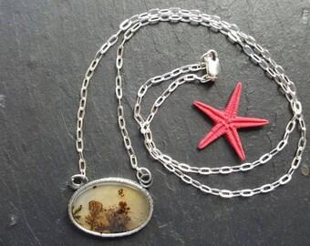 LANDSCAPE AGATE PENDANT, sterling silver pendant, oxidized pendant, spring pendant