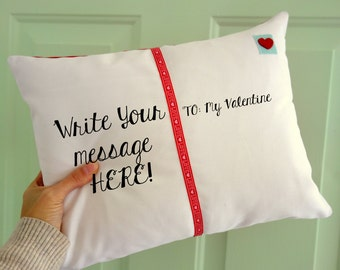 Postcard Pillow - Valentine's Day Decor - Valentines Gift - Valentines Day Card - Personalized Gift - Decorative Pillow - Gifts Under 50