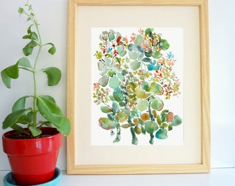 Succulents Impression, Watercolor Plants Fine Art Print, 8x10, Watercolor Succulents