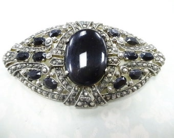 Vintage Art Deco Fancy Ornate Marcasite Style Black Stones Brooch Pin Unsigned Beauty Costume Jewelry