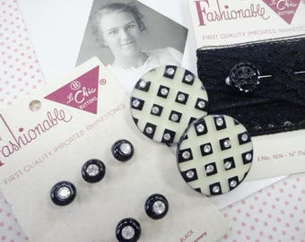 Needful Notions Black Glass Rhinestone Sewing Buttons Carded Vintage Large Clip Earrings Antique Postcard Lace Lot