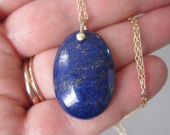 Lapis Lazuli Oval Drop Solid 14k Gold Necklace