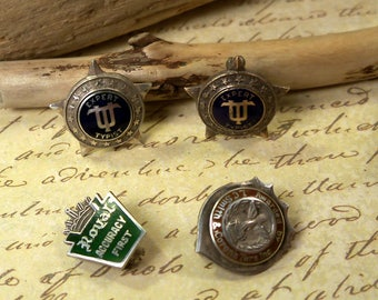 4 Vintage 1930s Sterling Silver Typing Typewriter Award Pins, Expert Typist, Smith & Corona, Royal Accuracy First