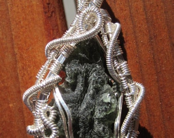 Alien Message in a Bottle//Rare Besednice Moldavite and Sterling Silver Wire Wrap Pendant, Handmade, One of a Kind, Heady, Art