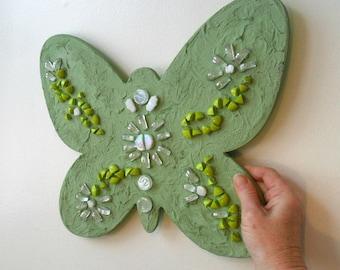 mosaic art - butterfly - mosaic butterfly - glass art - home decor - green - gift - butterfly lover - mosaic - wall art - mosaic wall art