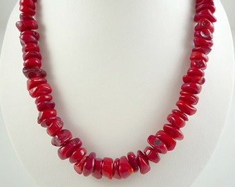 Red Coral Necklace Bright Red Coral Necklace Red Bamboo Coral Necklace Coral Beach Necklace Bright Red Coral Strand Short Coral Necklace