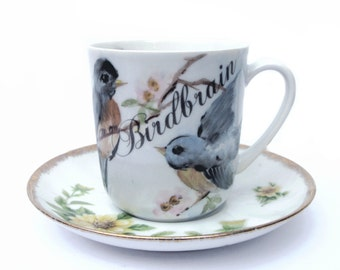 Birdbrain coffee mug - Altered vintage mug