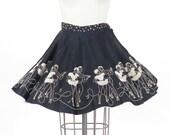 1940s 50s Circle Skirt, Roller Skating Novelty Print Skirt with Music Notes, Swing Skirt, Pinup Mini Skirt, Rockabilly Car Hop Skirt