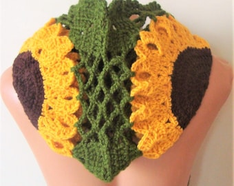 Sunflower Green festival hoods for women or for mens hat festival hood green, yellow, brown birthday gift for her or him