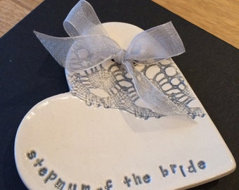 Silver grey stepmum of the bride groom ring plate keeper thank you ceramic heart gift