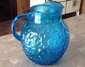 Vintage Anchor Hocking Milano Electric Blue Glass Large Pitcher 96 Ounce