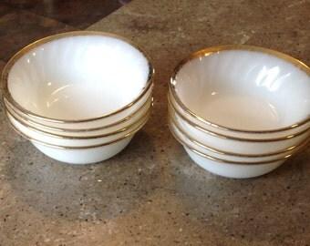 Vintage Fire King Swirl Milk Glass Gold Trim Berry Fruit Dessert Bowl Set of 8 Anniversary Pattern