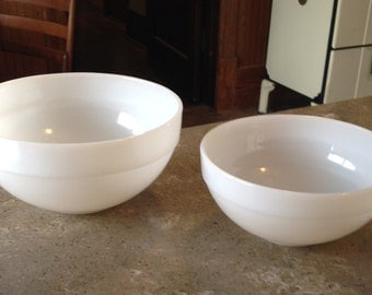 Fire King Colonial Band White Mixing Bowl 2 Piece Glass Set