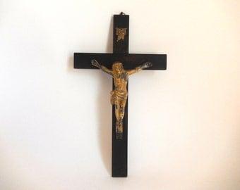 Antique Wood and Metal Crucifix - Vintage Religious Art