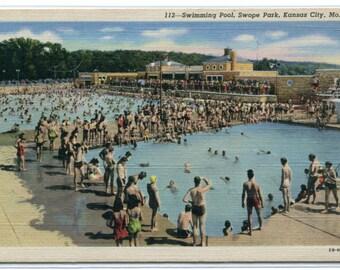 Swimming Pool Swope Park Kansas City Missouri linen postcard