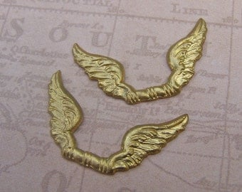Brass Stampings, Vintage Brass Stamping, Double Wing Stamping, Unique Brass Jewelry Findings, Angel Wing Stamped Brass