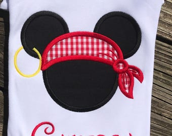 Mickey Pirate Applique Shirt - Boys Applique Shirt - Mouse head shirt - Birthday Shirt