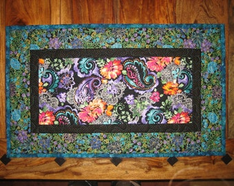 "Table Runner, Purple, Blue, Orange Pink Paisley and Lace Quilted 15 x 25"" 100% cotton fabrics Reversible"