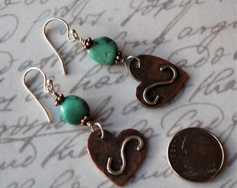 Rustic Boho Chic Copper Hearts, Sterling Silver and Turquoise Earrings