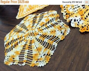 3 Vintage Crochet Doilies Variegated Oranges - Hand Crocheted 13585