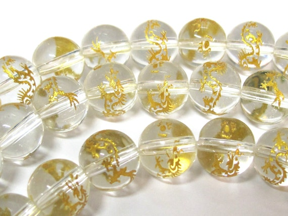 2 BEADS - Quartz gemstone beads with gold color Dragon painting - 10mm  - GM358G