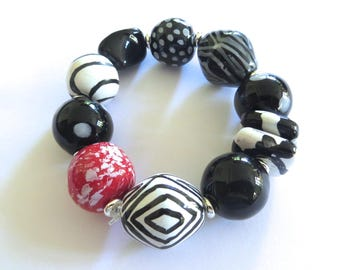 Beaded Bracelet, Kazuri Bangle, Fair Trade, Ceramic Jewelry, Black and White with Red Feature Bead