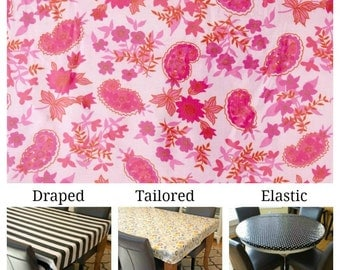 Laminated cotton aka oilcloth tablecloth custom size and fit choose elastic, tailored or draped Jennifer Paganelli Queen Street Jodi fuschia