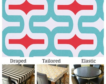Indoor/Outdoor tablecloth custom size and fit choose elastic, tailored, or draped, Embrace Calypso