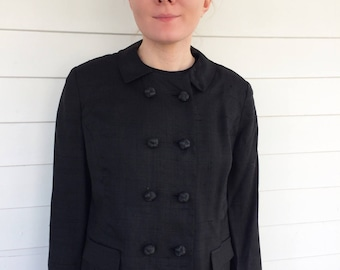 Vintage 60s Black Dress with Jacket 1960s M L