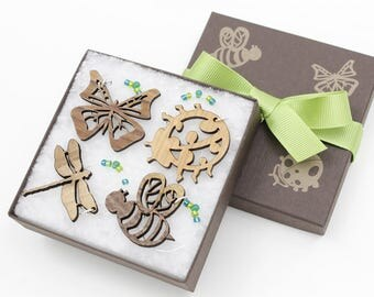 Wine Charms - Set of 4 Cool Insects- Dragonfly - Bumble Bee - Butterfly - Ladybug - Made in USA at Timbergreen Woods. Very Nice Gift Idea.