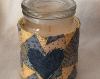 Quilt Look Candle Cozy Quilted Cotton Candle Wrap Jar Candle Surround