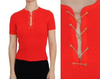 Chain Neckline Bright Red KNIT Top | S | 1970s Vintage Short Sleeve Sweater