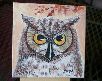 "Owl Painting-4"" x 4"" Acrylic-with display stand"