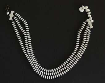 1960's Germany Triple Strand White Plastic Choker Necklace