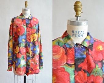 Vintage 1980s FLORAL silk blouse