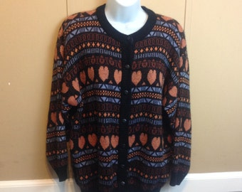 Vintage 80s Heart Print Button Down Sweater Cardigan Ladies Large