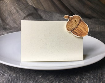 Acorn place cards - Fall wedding place cards - winter wedding escort cards Thanksgiving