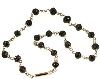 30% Off Winter Sale Antique 14k rose gold chain faceted garnet beads Victorian necklace c.1870